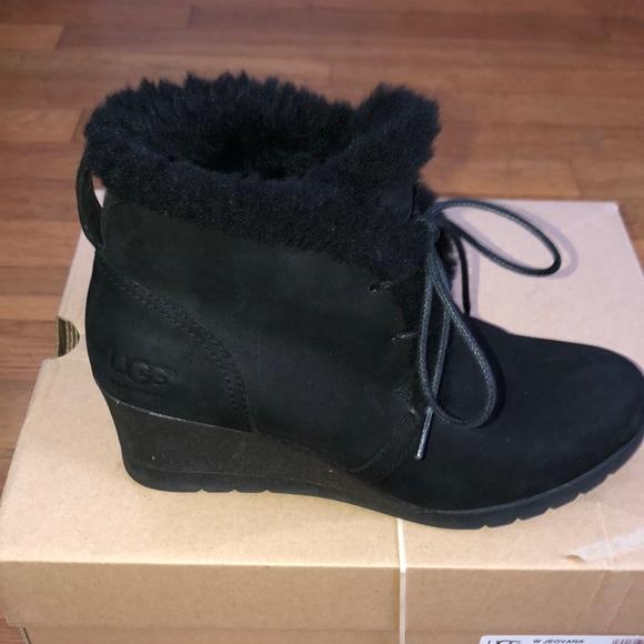 82b736a5426 Ugg Jeovana Black Suede Booties. Wedge heel